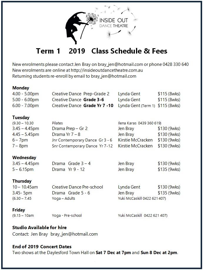 2019 T1 Class Schedule final2