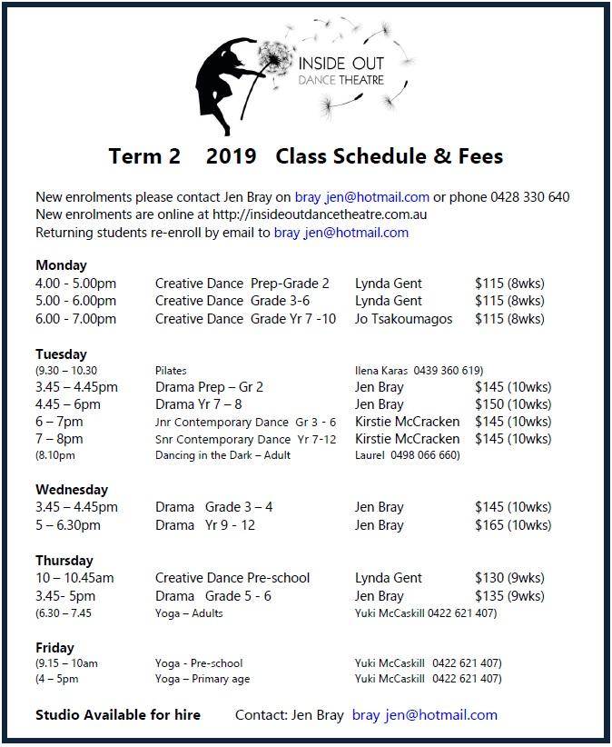 2019 T2 Class Schedule v2