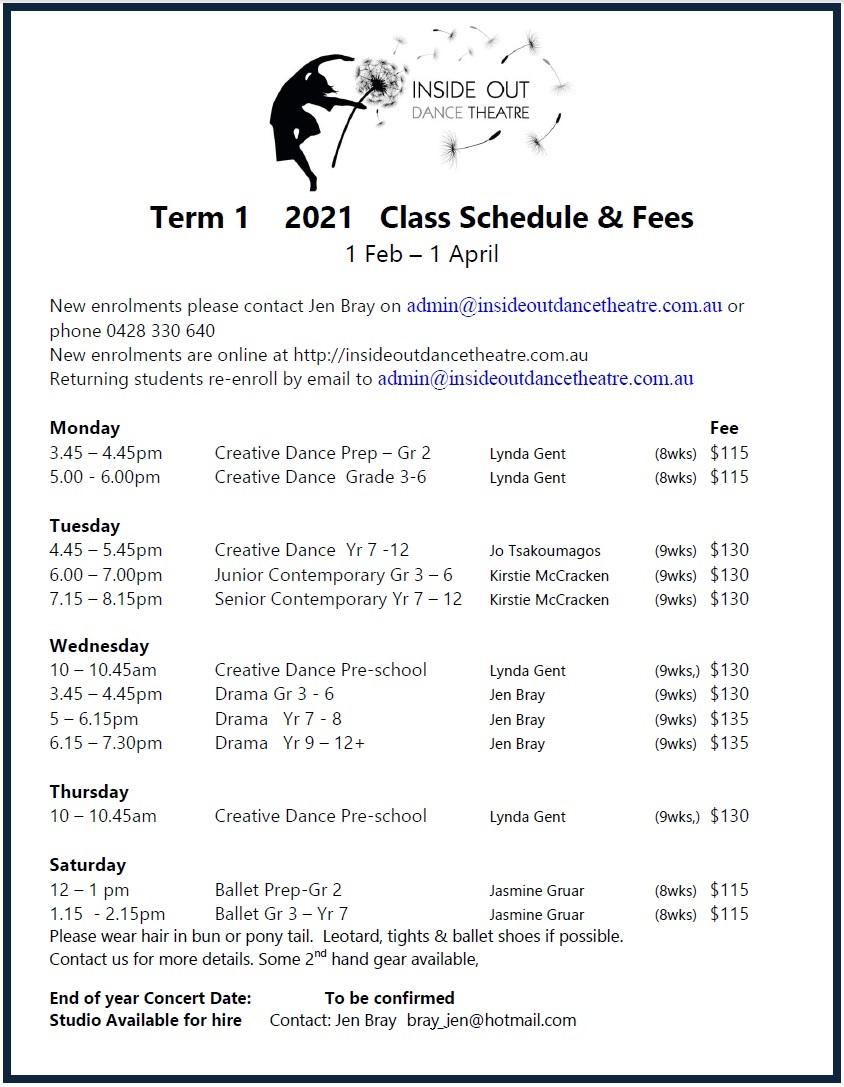 2021 T1 Class Schedule